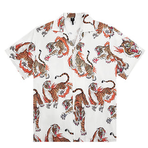 Tiger Open Collar S/S Shirt (White)
