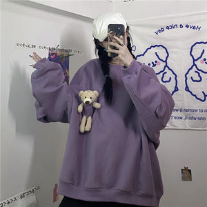 Teddy Bear Plush Pocket Sweatshirt (Purple)