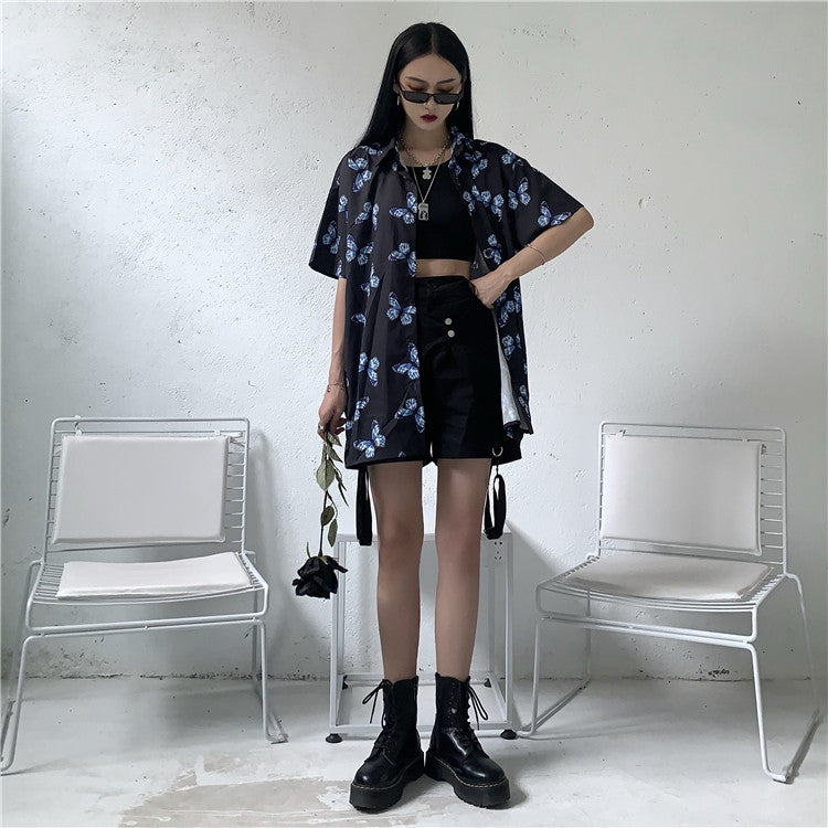Pop Blue Butterfly S/S Shirt (Black)