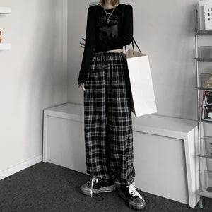 Plaid Long Pants (Black)