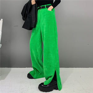 Side Slit Corduroy Pants (Green)
