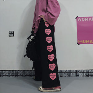 Pink Heart Easy Pants (Black)