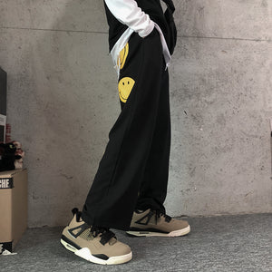 Smiley Printed Pants (Black)