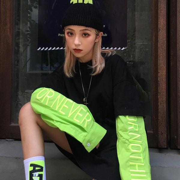 Fake Layered L/S Top (Black/Lime)
