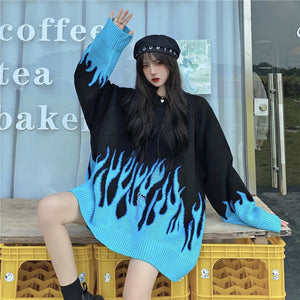 Blue Fire Knit Top (Black)