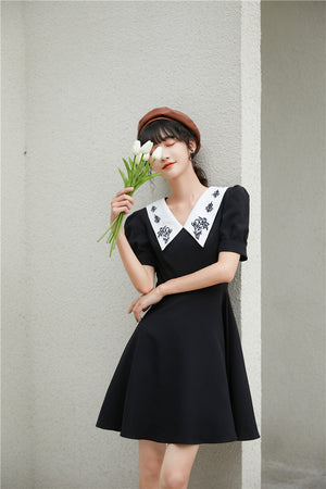 Flower Color Dress (Black)