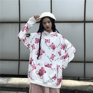 Pink Teddy Bear L/S Pullover Sweatshirt (White)