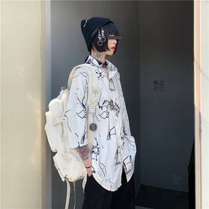Painted Oversized S/S Shirt (White)