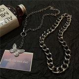 Butterfly Chain Necklace Set (Silver)