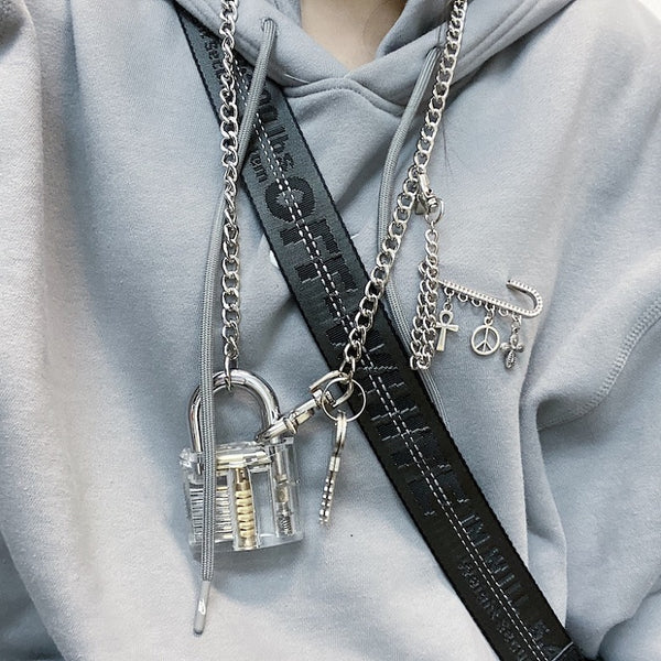 Clear Padlock Chain Necklace