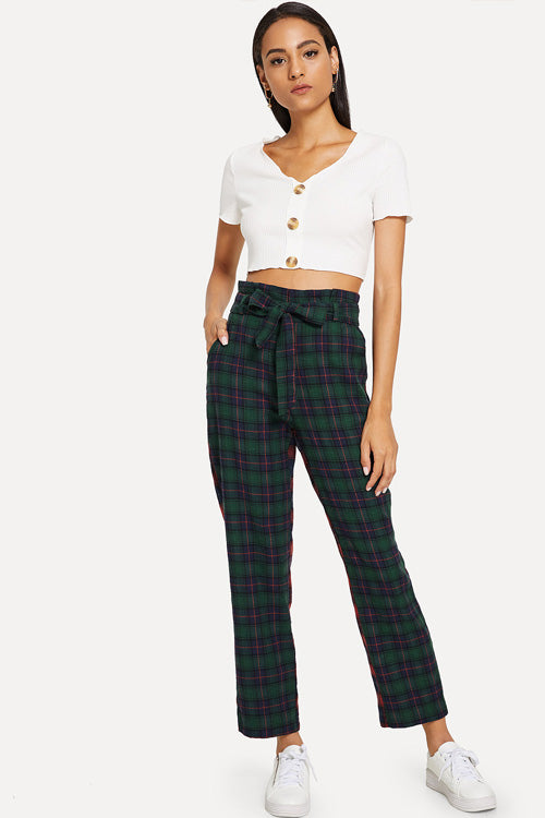 Plaid Self Tie Waist Pants