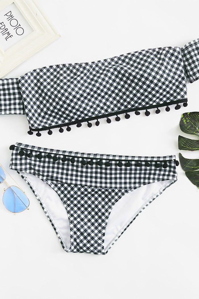 Pompom Embellished Plaid Bardot Bikini Set