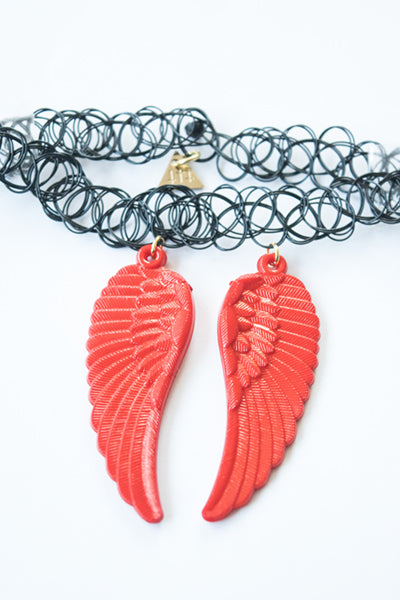 XTS Wings Tattoo Necklace (Red) - YOU ARE MY POISON