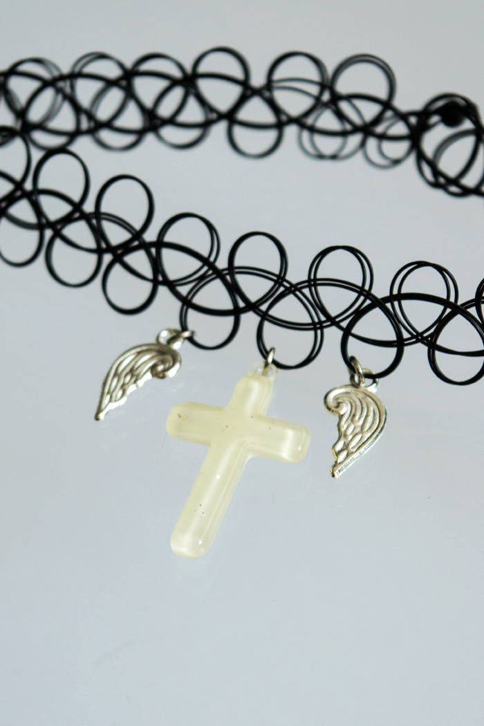 XTS Cross With Wings Tattoo Choker (4 Colors)