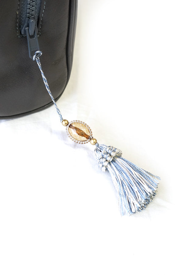 XTS Gray Mini Shoulder Bag(Blue Tassel) - YOU ARE MY POISON