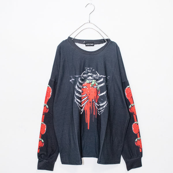 ACDC RAG Skeleton Strawberry L/S T-shirt (Black)