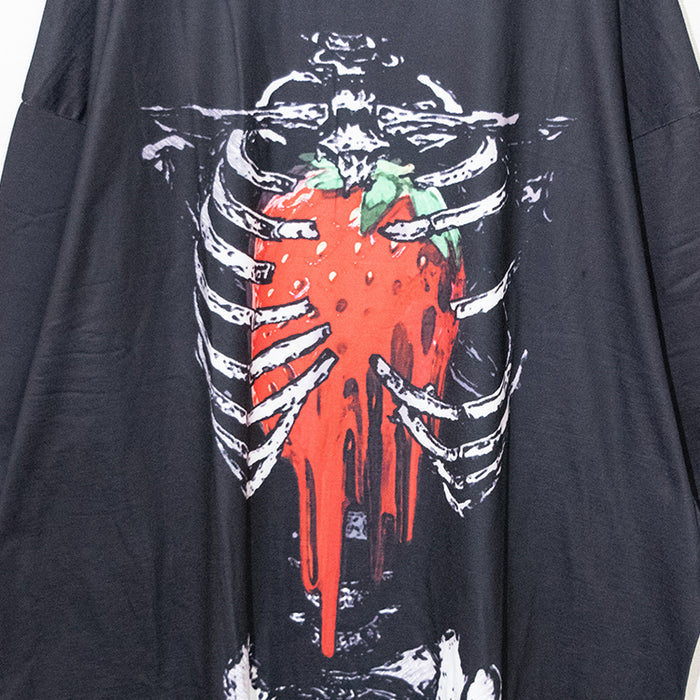 ACDC RAG Skeleton Strawberry Huge T-shirt (Black)