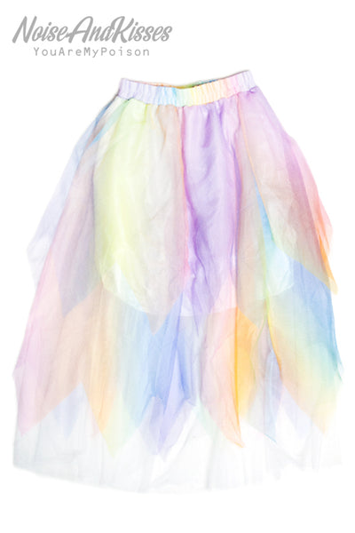 ACDC RAG Long Tulle Skirt (Rainbow)