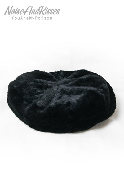 All Fur Beret Hat (Black)
