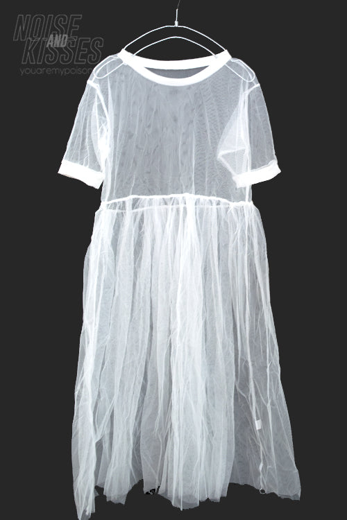 See Through Mesh Long S/S Dress (White)