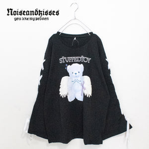 Angel Teddy Sleeve Lace-Up L/S T-shirt (2 color)