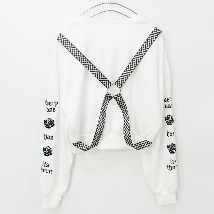 Rose Print Back Harness Pullover Top (4 color)