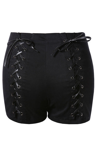 Black Lace-Up Short Pants (Black) - YOU ARE MY POISON
