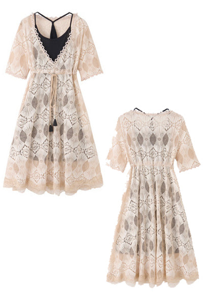 See-Through Lace Dress (Beige)