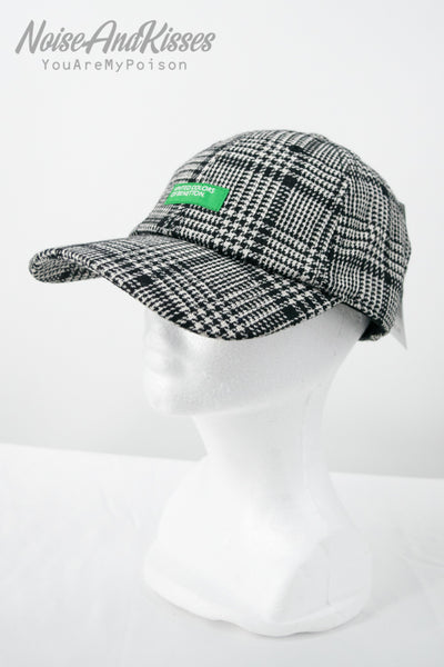 BENETTON (UNITED COLORS OF BENETTON) Logo Plaid Cap (Gray)