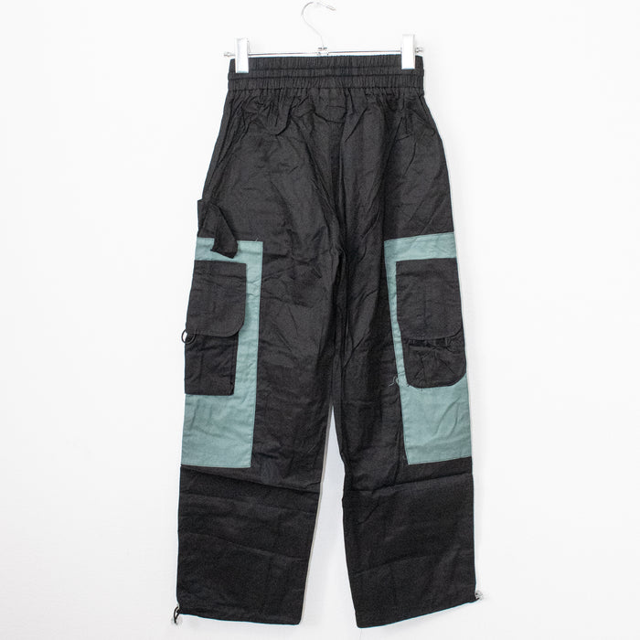 Bi-color Pocket Sporty Pants (Black/Gray)