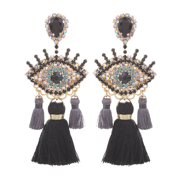 Bijou Tassel Eyes Pierce (Black)