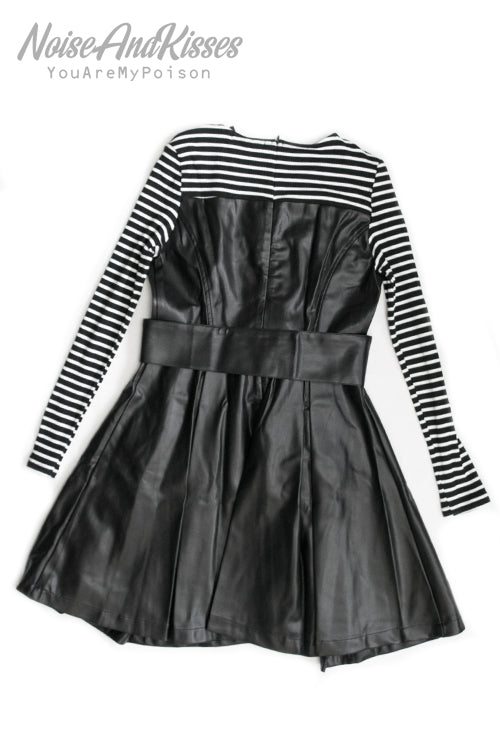 Synthetic Leather Border L/S Dress (Black)