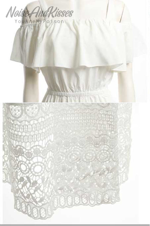 Off-Shoulder Lace Dress (White)