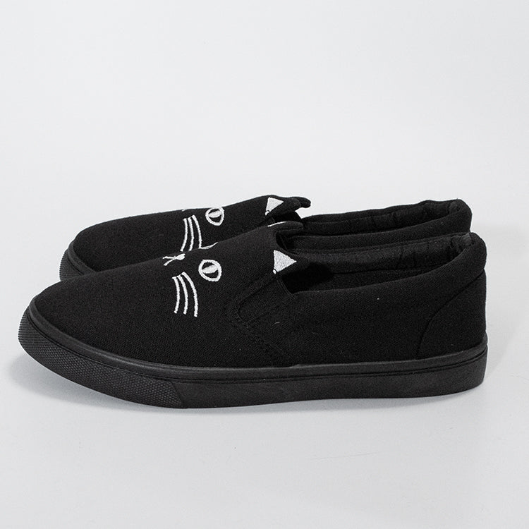 Cat Face Slip-On Shoes (Black)