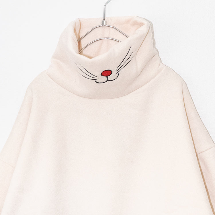 Cat Mouth Pullover L/S Long Sweatshirt (White)