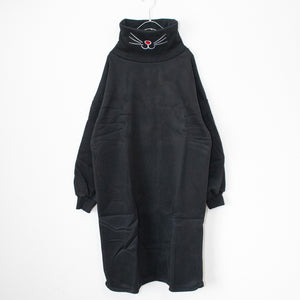 Cat Mouth Pullover L/S Long Sweatshirt (Black)