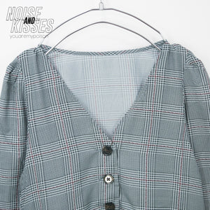Plaid Check Front Button Light Dress (Gray)