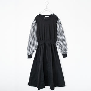 Gingham Check Volume Sleeve Long Dress (Black)