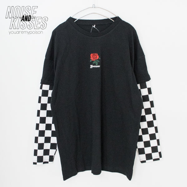 Checker Sleeve Layered Rose L/S Top (4 color)