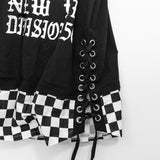 Logo Printed Checker Long Top (2 color)