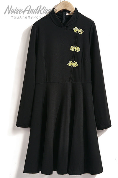 China Buttons Dress (Black)