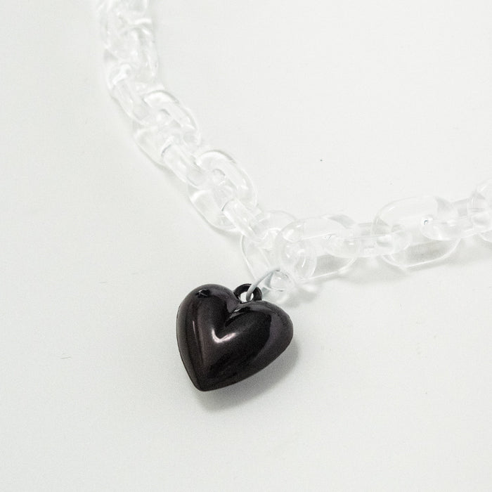 Clear Chain Heart Choker
