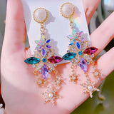 Colorful Crystal Flower Pierce