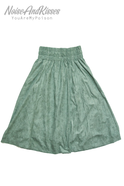 Fake Suede Flare Skirt (3 Colors)