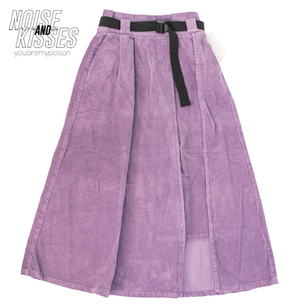 Corduroy Long Skirt w/Belt (2 color)