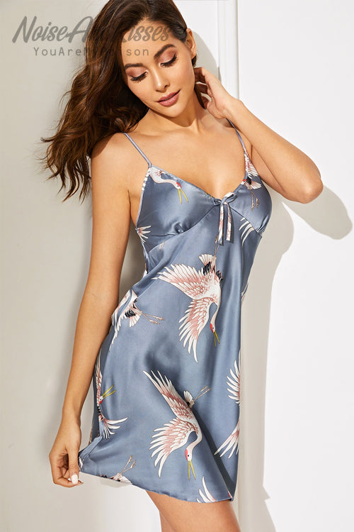 Crane Satin Cami Dress (2 color)