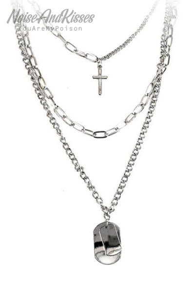 Cross 3 Line Chain Necklace (Silver)