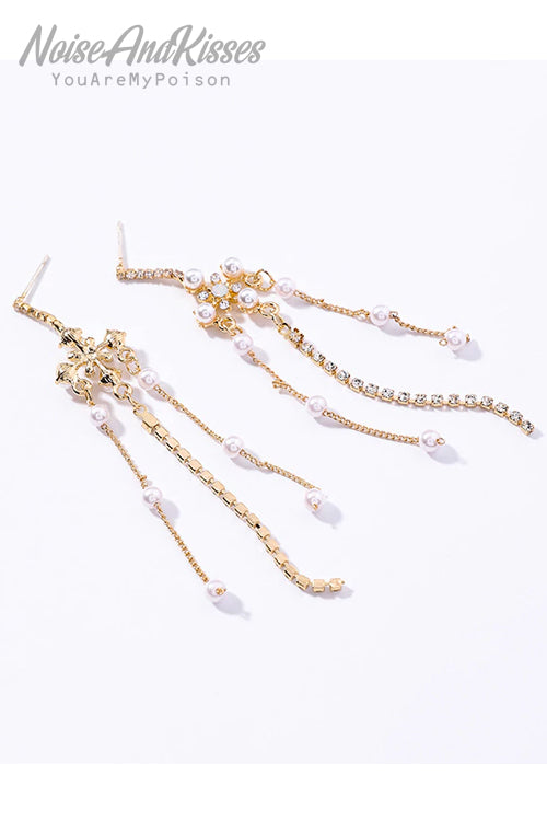 Long Chain Cross Pearl Pierce (Gold)