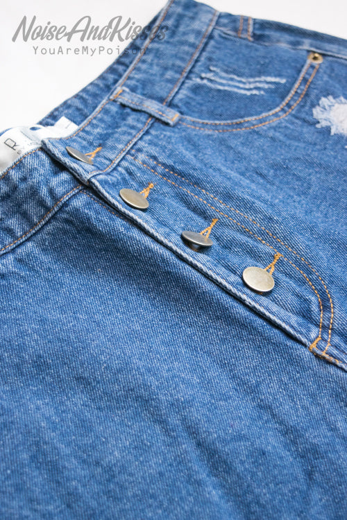 Damaged Denim Short Pants (Blue)