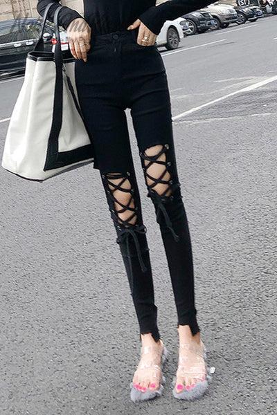 Damaged Lace-Up Skinny Pants (Black)